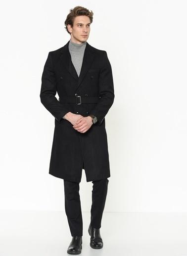Dewberry Yünlü Belden Bağlamalı Cepli Erkek Palto Siyah